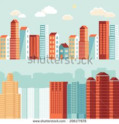 Vector city illustration in flat simple style - houses and buildings on horizontal banners - website headers