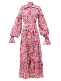 The Vampire's Wife - The Kaftan Liberty-print Cotton Dress - Womens - Pink White The Vampires Wife, Daily Dress, Liberty Print, Kaftan, Cotton Dresses, Printed Cotton, Nice Dresses, Wrap Dress, Women Wear