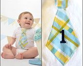 Baby Boy Birthday Gift Tie Onesie.  Any Number / Age Embroidered on Any Size Onesie.  First Birthday, Second Birthday Party Outfit.