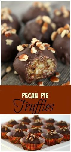 Delicious Pecan Pie Truffles, perfect for Fall or Thanksgiving! These Pecan Pie Truffles contain all of the delicious qualities of a pecan pie, but in a bite size portion. Pecan Desserts, Pecan Recipes, Just Desserts, Sweet Recipes, Cookie Recipes, Delicious Desserts, Desserts With Pecans, Fancy Recipes, Bite Size Desserts