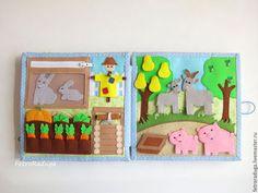 """Купить Развивающая книжка """"Ферма"""" - разноцветный, развивающая книга, развивающая книжка, из фетра, подарок мальчику"""