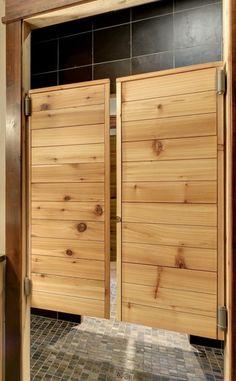 Saloon doors. Bathroom.