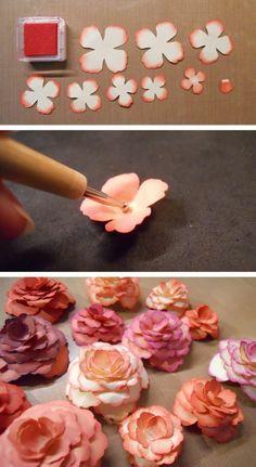 kleine blumen aus papier basteln, blumenblätter schneiden und kleben