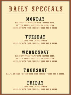 daily specials menu | Click here for weekdays Specials Menu in ...