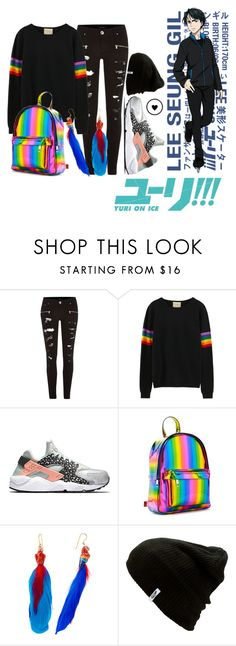 """Gender Bend Seung-gil Lee - Yuri On Ice"" by princesselesa ❤ liked on Polyvore featuring River Island, NIKE, Forever 21, Nach Bijoux and Vans"