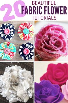 These 20 Easy Fabric Flower Tutorials will get you creating for weddings, home decor, and more! Click here for the tutorials! #thecraftyblogstalker #fabricflowers #diyfabricflower #easyfabricflowers Easy Fabric Flowers, Fabric Flower Tutorial, Diy Flowers, Paper Flowers, Spring Projects, Fun Projects, Easy Diy Crafts, Handmade Flowers, Different Fabrics