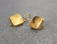 Square earrings, Gold geometric earrings, gold earrings, Drop earrings. on Etsy, 181.82₪
