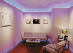 LED Strip Lighting Design Ideas for Living Room - Cove Lighting, Strip Lighting, Lighting Design, Lighting Ideas, Living Room Lighting, Bedroom Lighting, Bedroom Setup, Bedroom Ideas, Master Bedroom