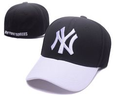 MLB NY Yankees Stretch Fitted Baseball Caps Black/White|only US$6.00 - follow me to pick up couopons.