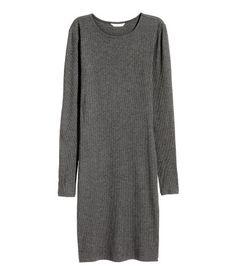 Ribbed Jersey Dress | Dark gray melange | Ladies | H&M US
