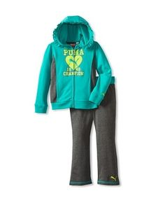 50% OFF Puma Girl's 2-6X Little Champion Hoodie Set (Spectra Green)