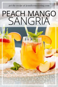 Peach Mango Sangria White wine sangria made with fresh peaches and mangoes, nectar, and added liquor for a delicious summer cocktail. Mango Moscato, Mango Wine, Mango Sangria, Mango Cocktail, Sangria Drink, Mango Drinks, White Wine Sangria, Summer Drinks, Easy Drink Recipes
