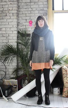 liking the colorful slip skirt with heavy knits..