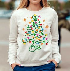 Mickey Mouse Disney Christmas tree sweatshirt idea. No link