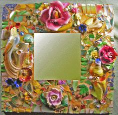 I LOVE LOVE LOVE THIS MOSAIC MIRROR!  Would I ever be able to create such a beautiful thing????