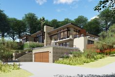 Full tear-down and rebuild of a modern Woodside house, utilizing the footprint of the existing structure to preserve the landscape and natural views. Style At Home, Hastings House, 3 Storey House Design, Houses On Slopes, Hanover House, Villas, Garage Guest House, Hillside House, House Entrance