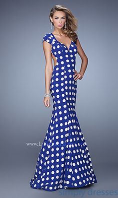Blue and White Polka Dot Dress by La Femme at SimplyDresses.com