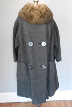 1960s Wool Swing Coat Charcoal Fleece Fur Collar Mod by MDMvintage