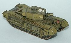 WW2`s Tank Churchill AVRE Paper Model In 1/100 Scale -  by PR Models - ==   Can you believe this detailed paper model of the WW2`s British Tank Churchill AVRE is a little smaller than a matchbox? It`s true, this 1/100 scale paper model was created by Czech designers Rawen and Michal Tichy, from PR Models website.