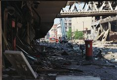 An exclusive series of photographs showing the aftermath of the bomb blast that devastated Manchester. Manchester Bombing, Manchester Uk, Altrincham, Rochdale, Film Images, London Tours, Salford, Old Pictures, City