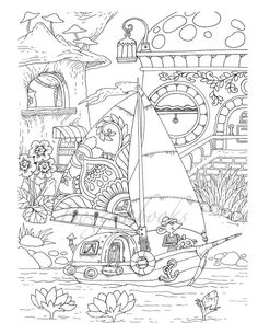 Nice Little Town 5 Adult Coloring Book Pages PDF