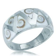Trillion Shiva Shell Inlay Sterling Silver Ring RN0068478 SilverShake.com