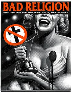 Band Poster Art | THE ROCK POSTER FRAME BLOG: Munk One Bad Religion Hollywood Poster ...