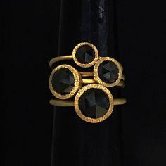 #rings #bling #blackdiamonds #gold #marthamoosdesign #octagon #contemporaryart #art #regram