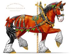 Caballo Regaldo, the Gift Horse (A Christmas Clydesdale) - Historic Carousel & Museum of Albany Clydesdale, Carousel Museum, Illustrations, Illustration Art, Albany Oregon, Carosel Horse, Horse Fly, Painted Pony, Merry Go Round
