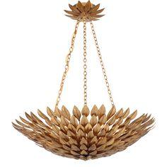 Crystorama Lighting Group Broche Antique Gold Six Light Gold Leaf Pendant Chandelier