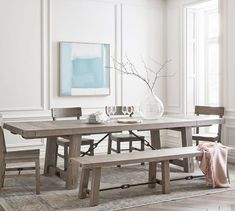 Benchwright Extending Dining Table - Seadrift | Pottery Barn Grey Dining Tables, Rectangle Dining Table, Dining Table With Bench, Extendable Dining Table, Dining Room Table, Dining Chairs, Modern Rustic Dining Table, Farm Tables, Oak Table