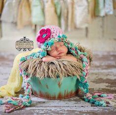 Crochet+bebé+niña+sombrero+recién+foto+Prop+por+AnnabelleKnits