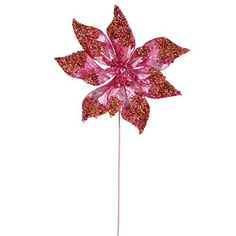 Felices Pascuas Collection 24 inch Pink Glitter Beaded Poinsettia Flower Artificial Christmas Spray Pick