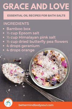 21 Essential Oil Recipes for Bath Salts Bath Recipes, No Salt Recipes, Soap Recipes, Homemade Scrub, Homemade Skin Care, Homemade Beauty, Diy Bath Salts With Essential Oils, Bath Salts Recipe, Sugar Scrub Recipe