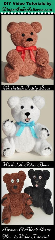 Learn how to make an adorable washcloth teddy bear or polar bear with easy step by step video tutorial. http://diapercakepatterns.com/product/how-to-make-a-washcloth-teddy-bear-video-tutorial-bonus-polar-bear-instructions/