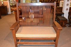 Arts and Crafts Mission Oak Bench with spindles by OakParkAntiques, $675.00