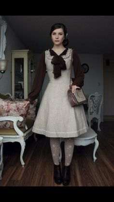 """I really do love the subtle Lolita look of this outfit. """"Fanny Rosie & her vintage french furniture, too. Cute Dress Outfits, Pretty Outfits, Cute Dresses, Scene Outfits, Emo Outfits, Party Dresses, Lolita Fashion, Modest Fashion, Fashion Dresses"""