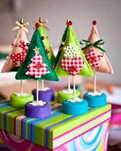 Enchanted forest -Whimsical Felt Christmas Trees with Gingham Polka Dots Decorations .