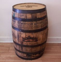 """This barrel is a freshly emptied barrel. The barrels are 35"""" tall, with a 21"""" top and bottom diameter, and a center diameter of 24"""" The barrels weigh about 120 lbs. All used whiskey barrels will have some whiskey stains on them, some barrels will have more stains than others. 