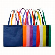 NON WOVEN LARGE TOTE BAG (NO GUSSET) – B07  Price includes 1 color, 1 position print   2 Color imprint available for an additional charge  Get your promotional tote bags ordered today for wider brand exposure!  The perfect size for carrying around textbooks, trade show and expo items or any number of other practical uses, these non-woven tote bags will be carried around, constantly displaying your logo.