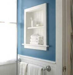 put a shelf IN the wall to replace a medicine cabinet
