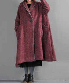 Women winter Clothing oversized loose wool long coat red