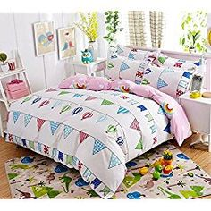 Mumgo Kids Comforter Cover Bedding Sets,Colourful Bunting Design Bed Sheet,4PC Duvet Cover Set for Christmas Day (Full size-4pc (no comforter or filling))