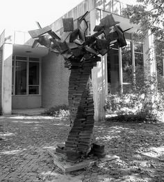 TREE OF KNOWLEDGE, c 1992, stands outside the  Yellow Springs, OH Public Library,