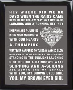 Van Morrison music song lyrics Brown Eyed Girl Word Art Print Poster Love Heart