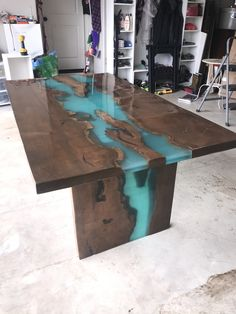 Maple live edge table with turquoise epoxy, furniture, slab, maple