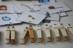 Initial letter/sound activity. Clip the pictures to the correct peg! Great idea.