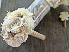 Handmade Wedding Bouquet -Tan Bouquet, Alternative Bridal Bouquet, Keepsake Bouquet, Shabby Chic Wedding, Rustic Wedding