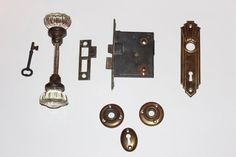 Antique 20s Crystal Glass Door Knobs, 12 Point, Brass Plate, Skeleton Key, etc,   Eight Pieces as Shown  All original Pieces