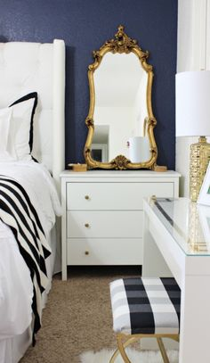 "designmeetstyle: "" In a small space, make furniture work overtime. A dresser serves as a night stand, and can be utilized as a vanity. """